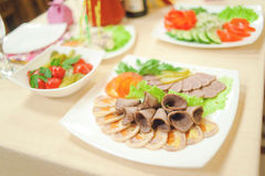 Banquet. Food on an evening banquet Stock Photography