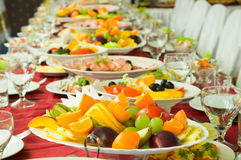Banquet. Dish with fruit on the banquet table stock photography