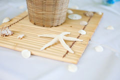 Banquet at the Beach. Tropical resort setting table with starfish arrangement Stock Image