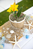 Banquet at the Beach. Tropical resort setting table with starfish arrangement Stock Photography