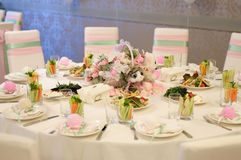 Banquet birthday table setting Royalty Free Stock Photos