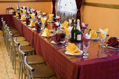 Banquet bordeaux table Stock Image