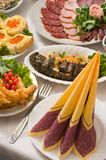 Banquet in cafe. Beautifully served food. A celebratory supper in cafe Royalty Free Stock Photography
