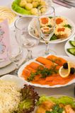 Banquet in cafe. Beautifully served food. A celebratory supper in cafe Stock Images