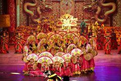 The Banquet Dance in the Song Palace. With exceptional traditional costumes of the emperor and empress, palace officials, and palace entertainers, all dancing Royalty Free Stock Photography