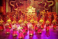 The Banquet Dance in the Song Palace. With exceptional traditional costumes of the emperor and empress, palace officials, and palace entertainers, all dancing Stock Images