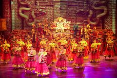 The Banquet Dance in the Song Palace. With exceptional traditional costumes of the emperor and empress, palace officials, and palace entertainers, all dancing Stock Photos
