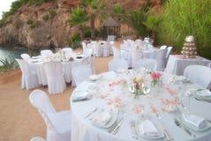 Banquet de mariage de bord de la mer Image stock