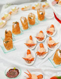Banquet dish - appetizers made of scampi Royalty Free Stock Photography