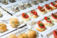 Banquet entry snack catering delicious. Food tomatoes Royalty Free Stock Photos