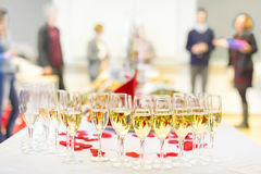 Banquet event. Champagne on table. Royalty Free Stock Photo