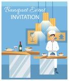 Banquet Event Invitation Flat Vector Illustration royalty free illustration