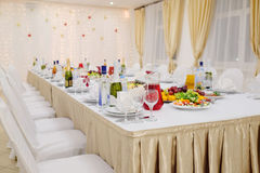 Banquet facilities table setting Stock Image