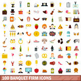 100 banquet firm icons set, flat style. 100 banquet firm icons set in flat style for any design vector illustration vector illustration