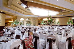 Banquet hall. A banquet hall or other function facility set for fine dining Royalty Free Stock Image