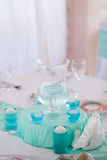 Banquet hall decorated for wedding Stock Image
