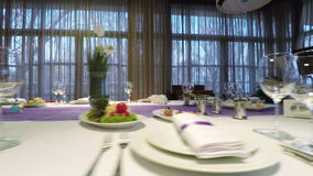 Banquet hall decoration. Decorating a banquet hall for celebration of birth stock footage