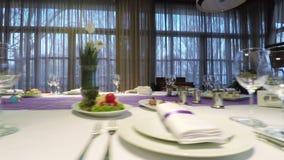 Banquet hall decoration stock footage