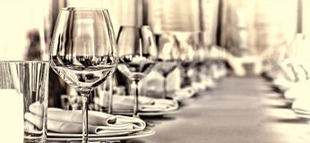 Banquet hall in the restaurant. Concept: Serving. Celebration Anniversary Wedding. Close up Stock Photo