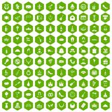 100 banquet icons hexagon green. 100 banquet icons set in green hexagon isolated vector illustration Stock Images