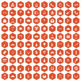 100 banquet icons hexagon orange. 100 banquet icons set in orange hexagon isolated vector illustration vector illustration