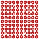 100 banquet icons hexagon red Stock Photography
