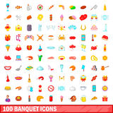 100 banquet icons set, cartoon style. 100 banquet icons set in cartoon style for any design vector illustration Stock Image