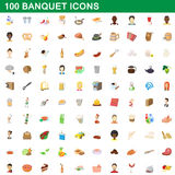100 banquet icons set, cartoon style. 100 banquet icons set in cartoon style for any design vector illustration Royalty Free Stock Photo