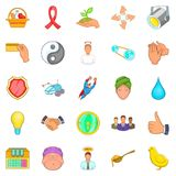 Banquet icons set, cartoon style Royalty Free Stock Photography