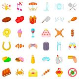 Banquet icons set, cartoon style Royalty Free Stock Image