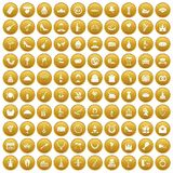 100 banquet icons set gold. 100 banquet icons set in gold circle isolated on white vectr illustration Royalty Free Stock Images