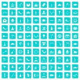 100 banquet icons set grunge blue Stock Images