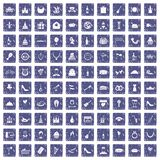 100 banquet icons set grunge sapphire. 100 banquet icons set in grunge style sapphire color isolated on white background vector illustration Royalty Free Stock Photos