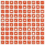 100 banquet icons set grunge orange. 100 banquet icons set in grunge style orange color isolated on white background vector illustration Royalty Free Stock Image