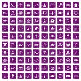 100 banquet icons set grunge purple. 100 banquet icons set in grunge style purple color isolated on white background vector illustration Stock Illustration