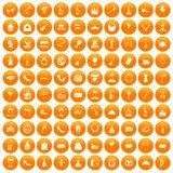 100 banquet icons set orange. 100 banquet icons set in orange circle isolated vector illustration royalty free illustration