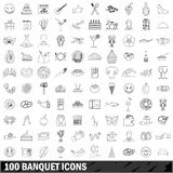 100 banquet icons set, outline style. 100 banquet icons set in outline style for any design vector illustration Stock Photo