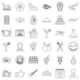 Banquet icons set, outline style. Banquet icons set. Outline style of 36 banquet vector icons for web isolated on white background Stock Photos
