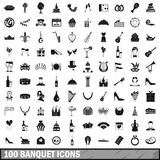 100 banquet icons set, simple style. 100 banquet icons set in simple style for any design vector illustration Royalty Free Stock Image