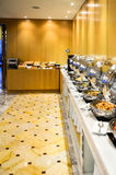 Banquet meals served on tables, food for group in restaurant. Royalty Free Stock Images