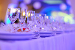 Banquet in restaurant. Wedding banquet in restaurant, served table Stock Photography