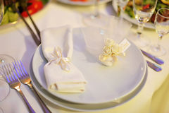 Banquet in restaurant. Wedding banquet in restaurant, served table Royalty Free Stock Photo