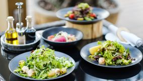 Banquet restaurant meals reception healthy eating. Banquet at restaurant Variety of meals prepared for a reception or dinner party. Healthy eating lifestyle stock photo