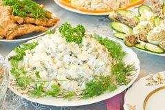 Banquet in the restaurant, Russian salad Stock Image