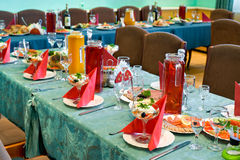Banquet restaurant table Royalty Free Stock Images