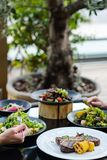 Banquet restaurant meals reception healthy eating stock image