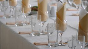 Banquet room. Celebration, family event, Wedding. Glass of wine. Close up.The bubbles in champagne stock footage