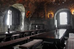 Banquet room in Dunguaire castle Stock Photos