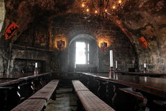 Banquet room in Dunguaire castle Stock Photo