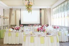 Banquet room. With the served tables stock photography